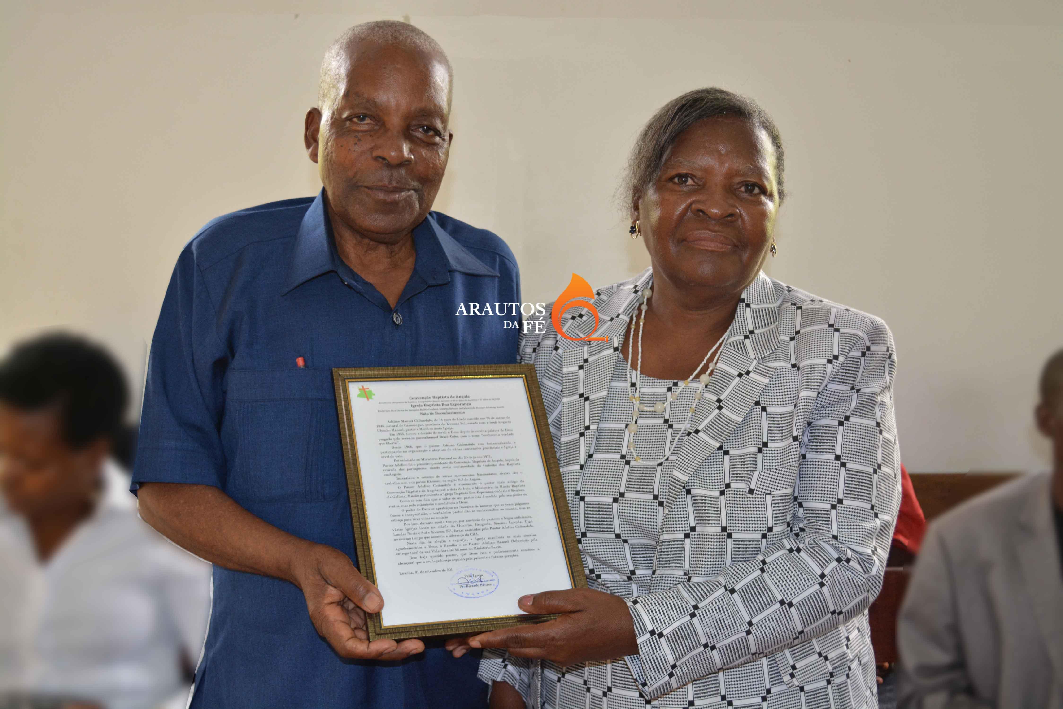 Trabalho do Pastor Adelino Chilundulo e da esposa Augusta, foi reconhecido por diversas personalidades.